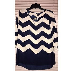off white and navy blue blouse